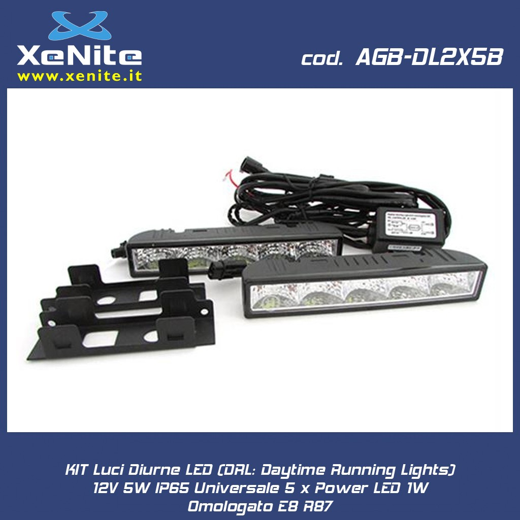 KIT Luci Diurne LED (DRL: Daytime Running Lights) 12V 5W IP65 Universale 5 x Power LED 1W Omologato E8 R87