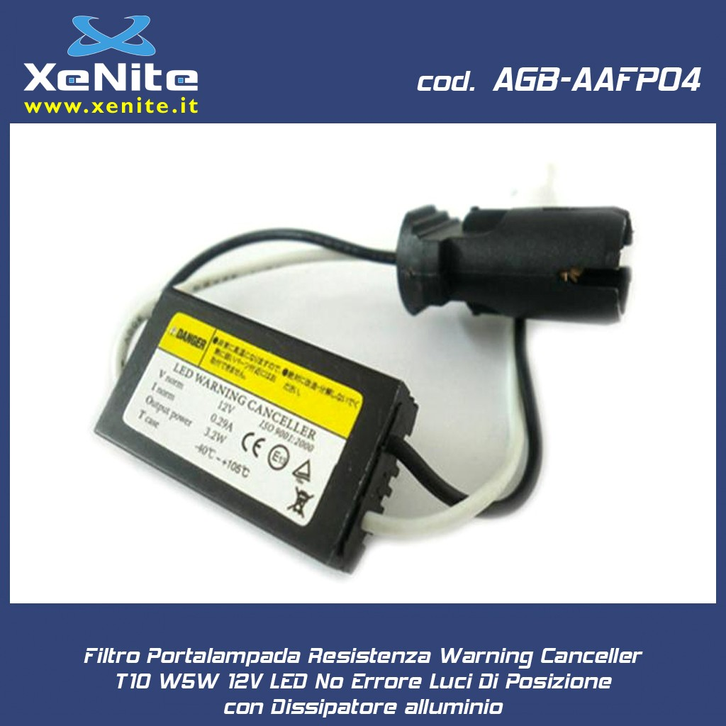 Filtro portalampada resistenza warning canceller t10 w5w for Portalampada led